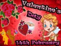 cupid, roses, teddies, chocolates and valentine's card on red heart background